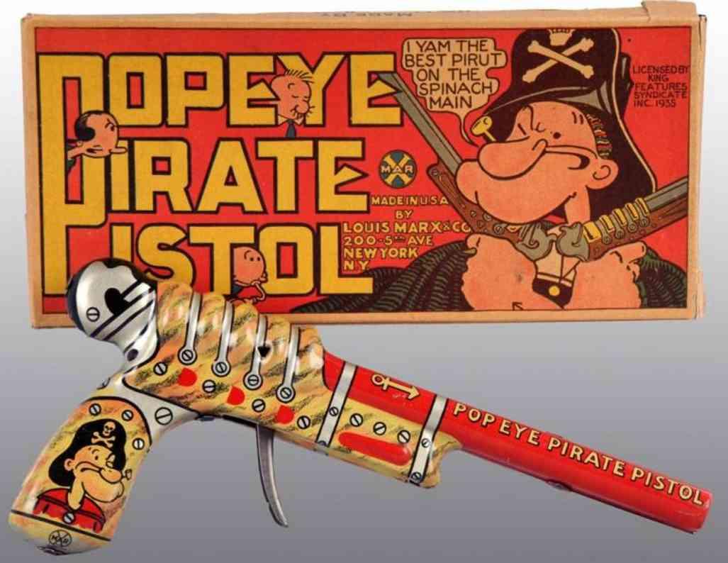 Marx Popeye pirate pistol with box