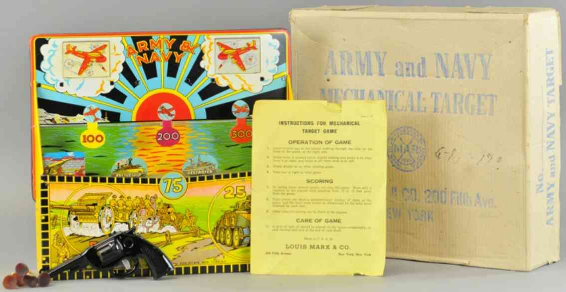 marx louis tin toy army and navy target game