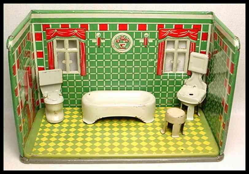 marx louis 192 blech spielzeug badezimmer badewanne toilette waschbecken spiegel