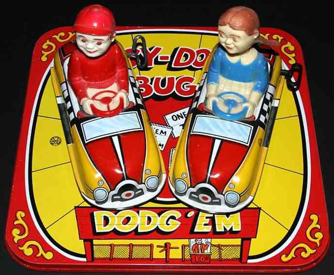 marx louis tin toy dipsy doodle bug dodg 'em wind-up car set