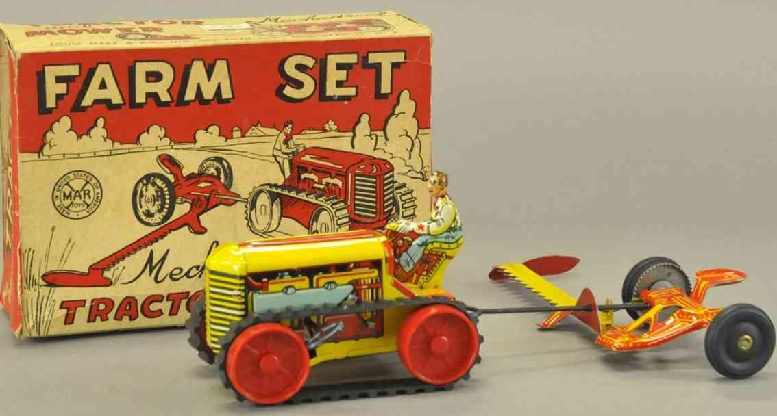 marx louis blech spielzeug farm set traktor mit maehwerk uhrwerk
