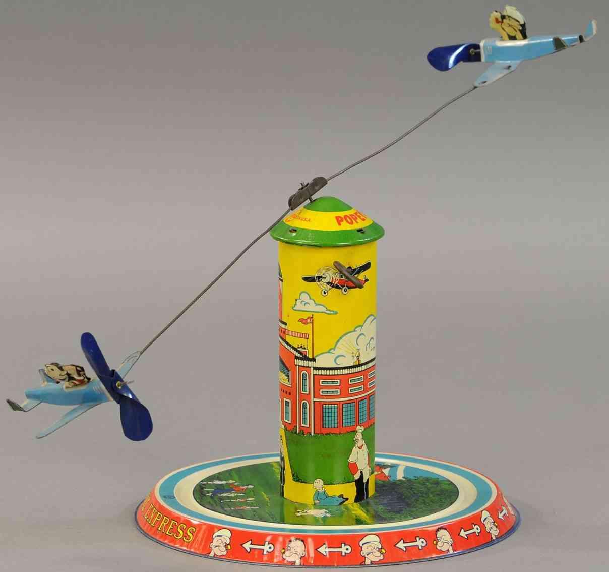 marx louis blech spielzeug popeye flieger zwei flugzeuge uhrwerk