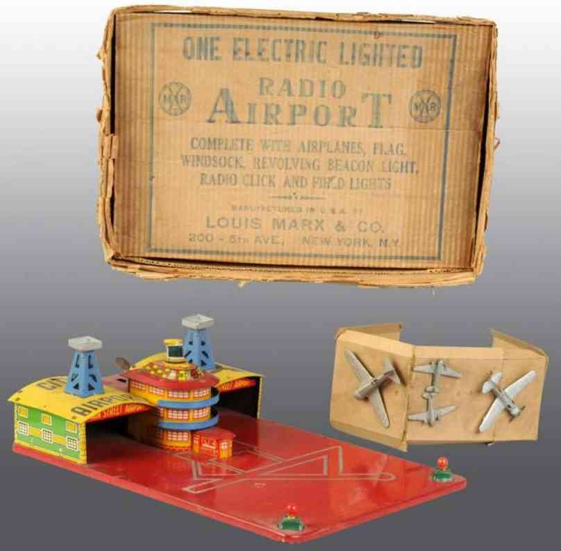 marx louis tin toy electric lighted radio airport