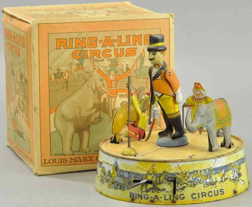 marx louis ring-a-ling circus blech spielzeug zirkuskarussell rosa