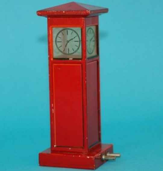 meccano erector 13460 tin toy grandfather clock in red, electrically illuminated