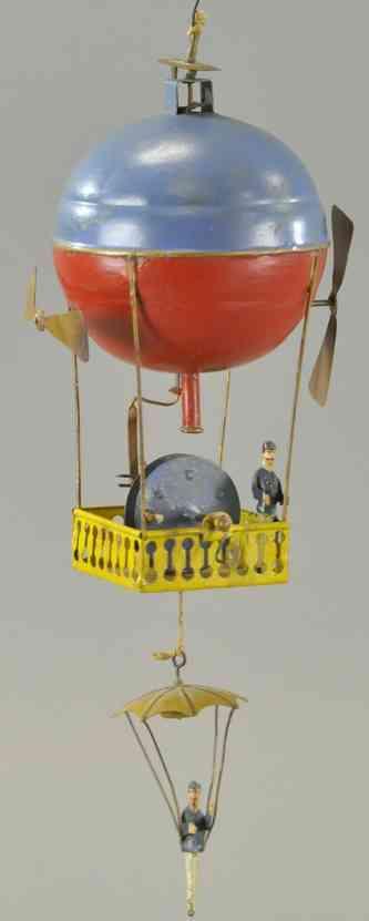mueller & kadeder blech spielzeug heissluftballon mit fallschirmspringer