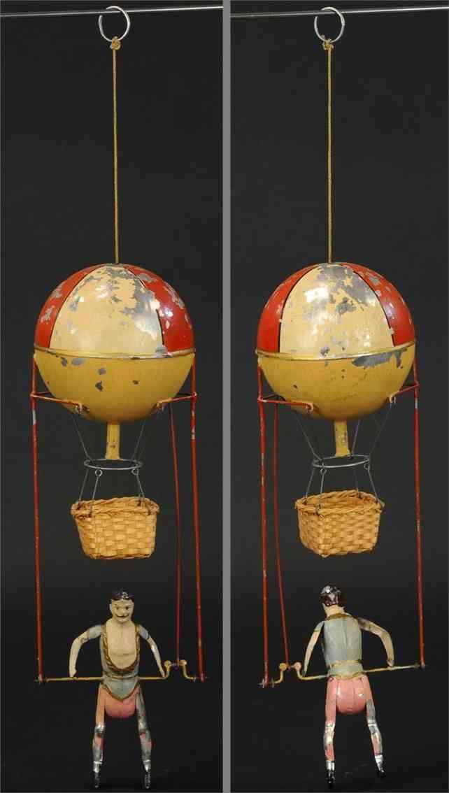 mueller & kadeder blech spielzeug heißluftballon akrobat uhrwerk korb