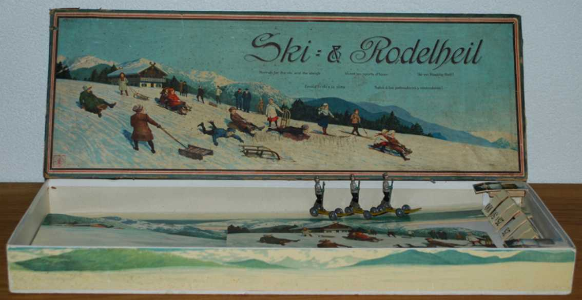 mueller & freyer tin toy ski & rodelheil. it was made before 1904 by the company müll
