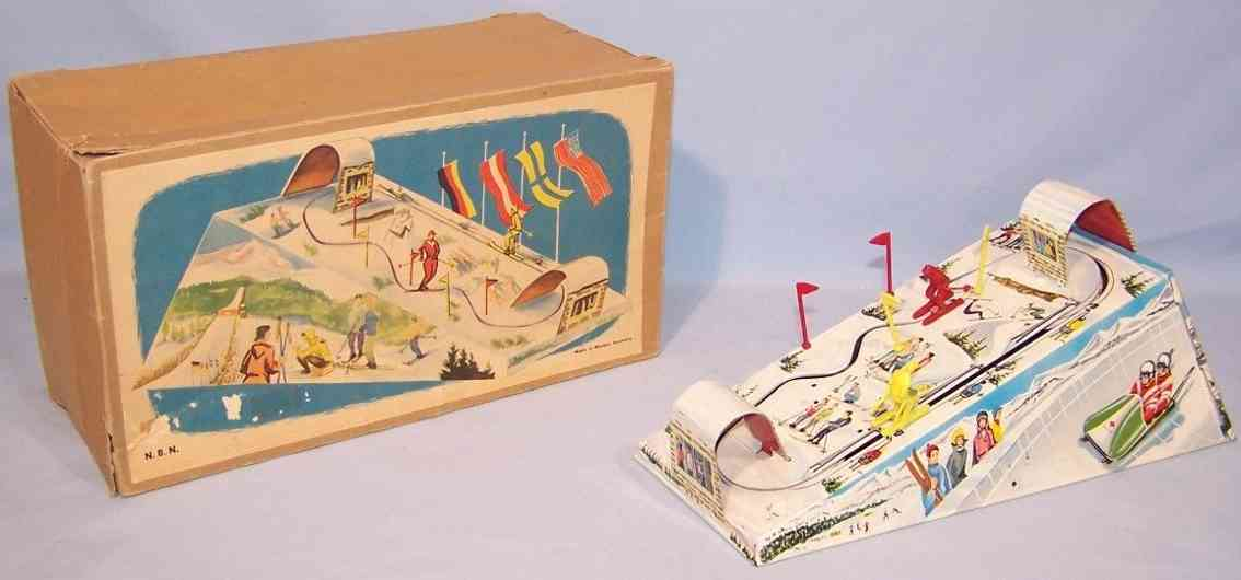 nbn nuernberger blechspielwaren tin toy ski slope, downhill track skiers flags