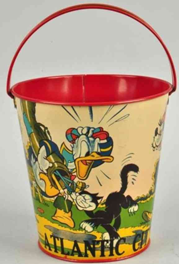 ohio art tin toy sand pail with mickey mouse donald goofy golfing