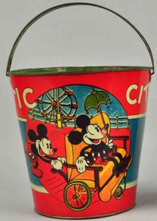 ohio art tin toy sand pail with mickey mouse and minnie