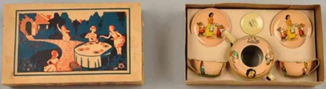 ohio art blech spielzeug walt disney pinnochio teeservice 3 teller 2 tassen kanne