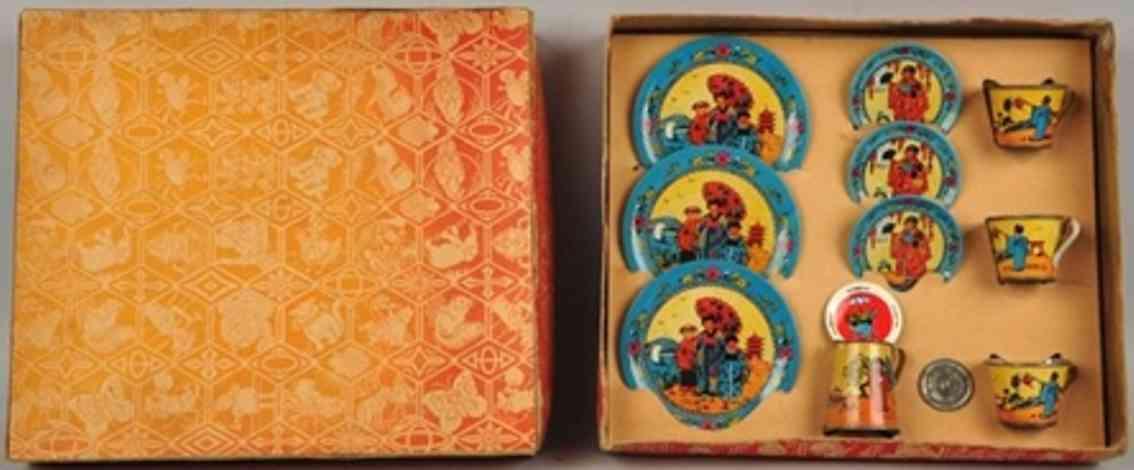 ohio art blech spielzeug orientalisches teeservice 3 grosse kleine teller tassen kanne