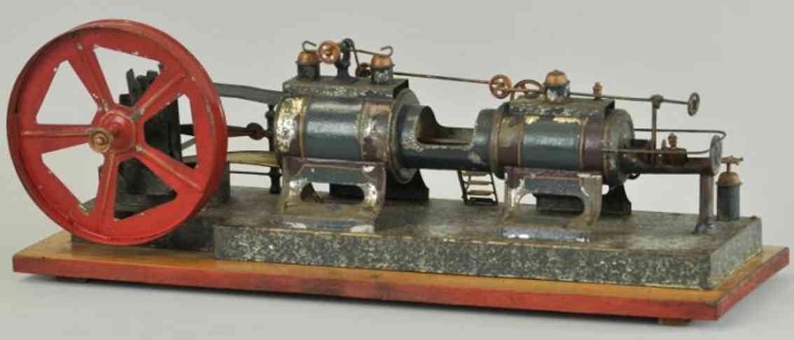 plank ernst blech spielzeug uhrwerk-mühlenmotor, handbemalt, tandemmotor, großes schwung