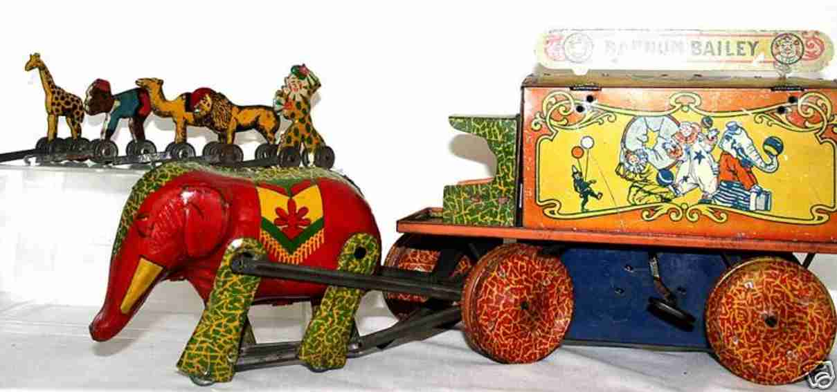ringling brothers tin toy barnum & bailey circus wagon lithograhed with cages and elep