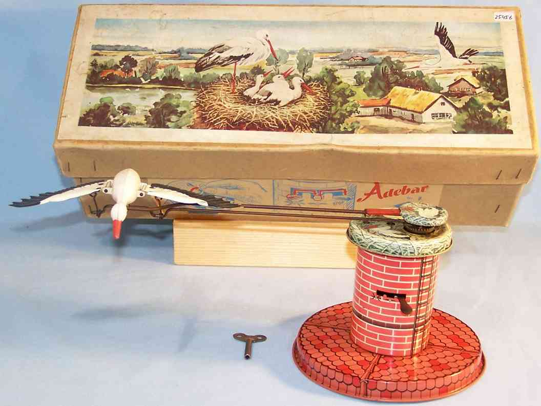 ruhl 7 tin toy stork clockwork tin plastic