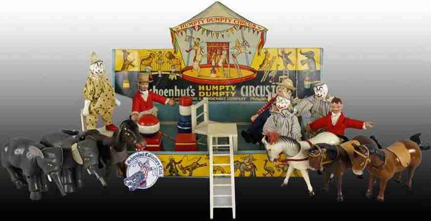 schoenhut blech spielzeug zirkus mit tiere