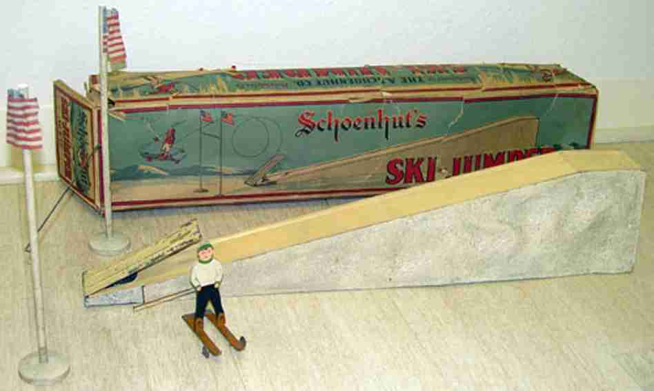 schoenhut tin toy ski jumper hand painted wood metal skis wheels