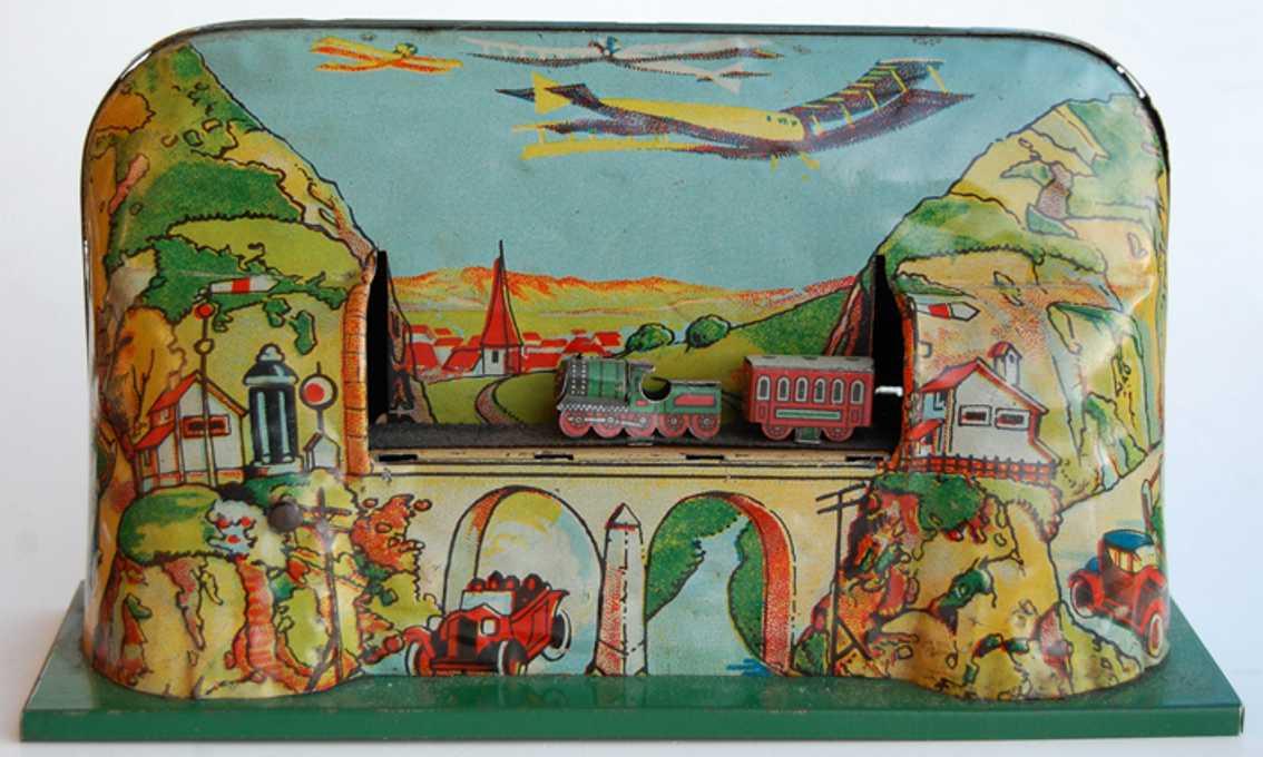 schuhmann adolph blech spielzeug blechbahn lithografiert mit uhrwerk,  mit drei lokomotiven m