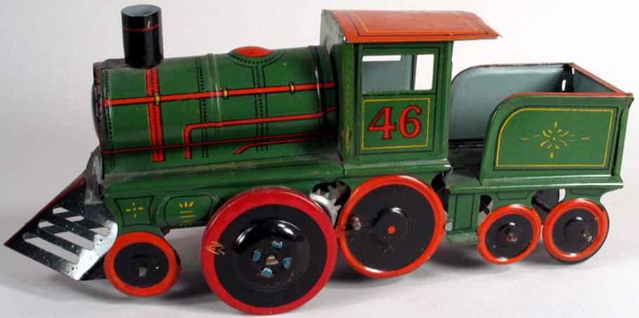 strauss ferdinand 46 tin toy steam engine with tender, green