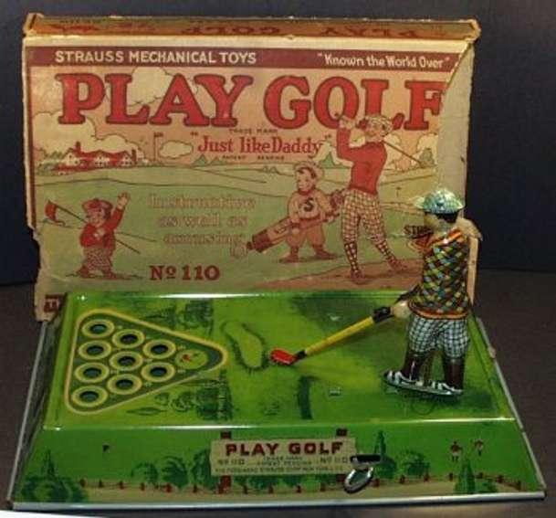 strauss 110 blech spielzeug golfspieler mit uhrwerk