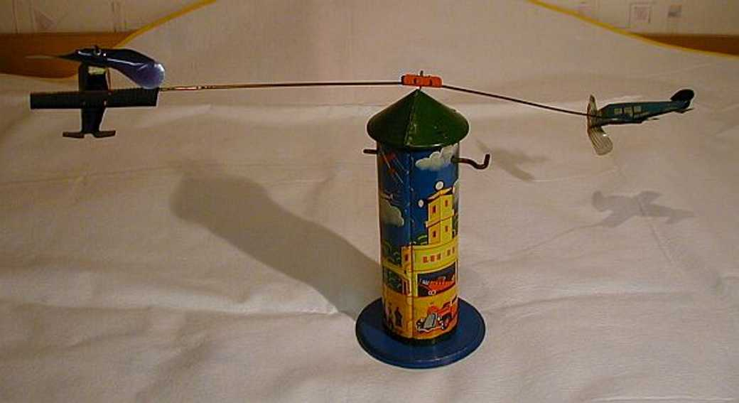 technofix 223 tin toy airman tower with 2 airplanes