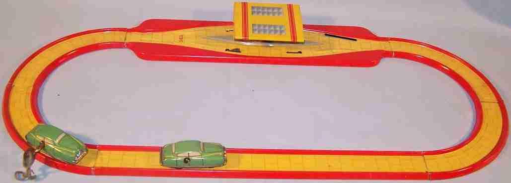 technofix 260 blech spielzeug ausweichbahn mit station und uhrwerk mit 2 autos