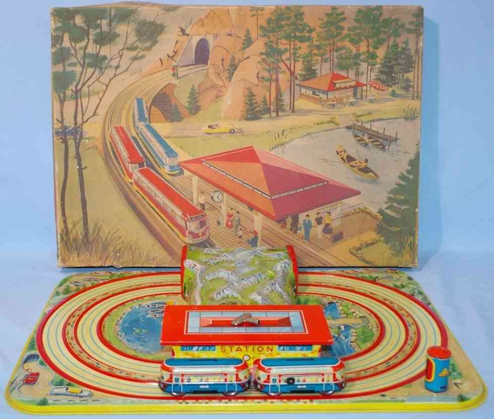 technofix 284 blech spielzeug tunnelbahn mit federwerk und 2 autos