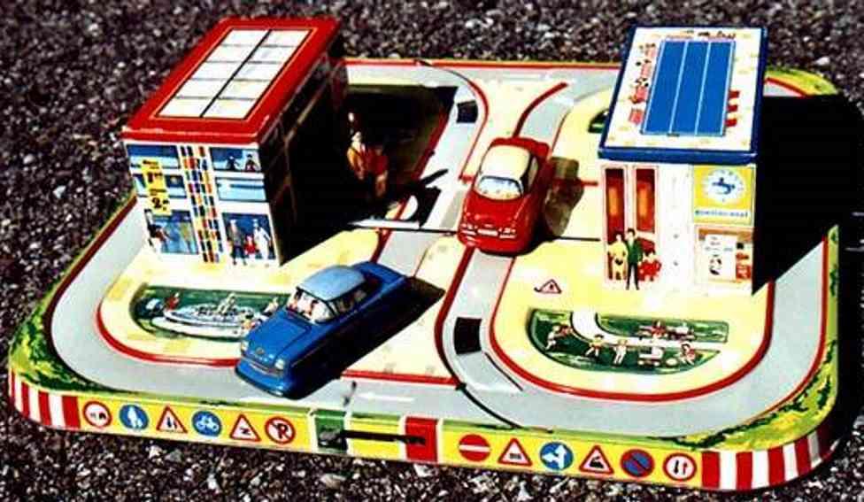 technofix 310 blech spielzeug spielzeugbahn zebra crossing mit gebäude und zwei autos mit