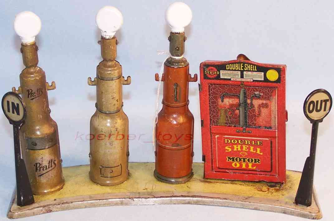 tippco blech spielzeug tankstelle beleuchtet shell rot schwarz braun