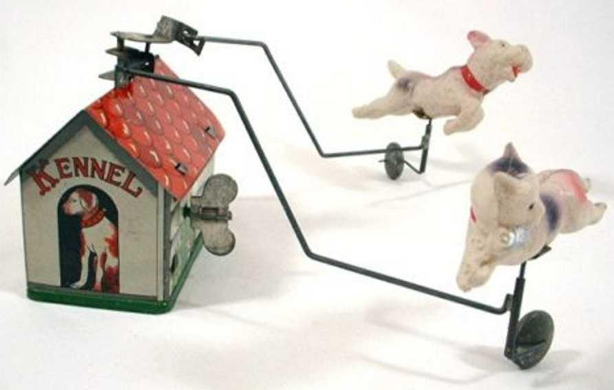 unknown blech spielzeug blechhaus mit hund und katze als plastikfiguren und uhrwerk,