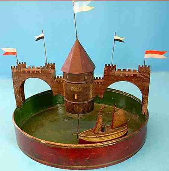 Bassin mit Burg und Dampf-Segelschiff