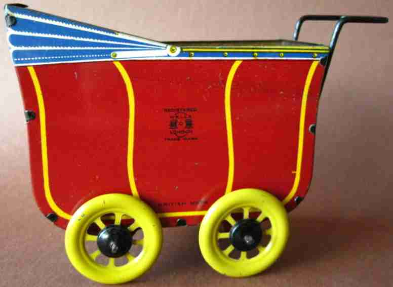 wells brimtoy tin toy pram non operative toy