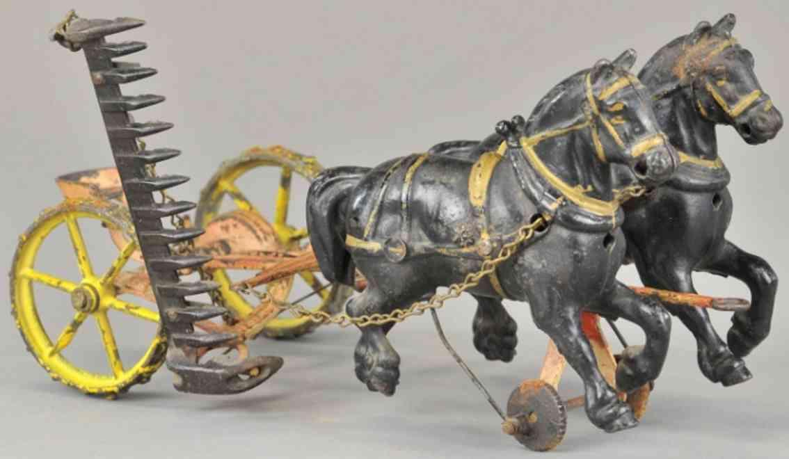 wilkens spielzeug gusseisen maehwerk zwei pferde