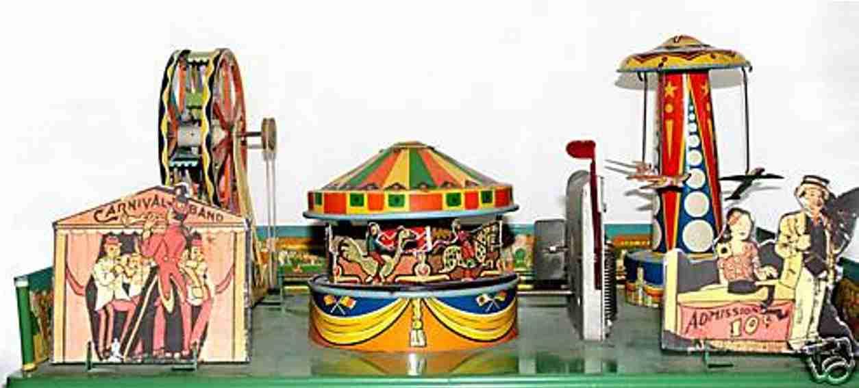wyandotte tin toy carnival circus airplane ride ferris wheel merry-go-round