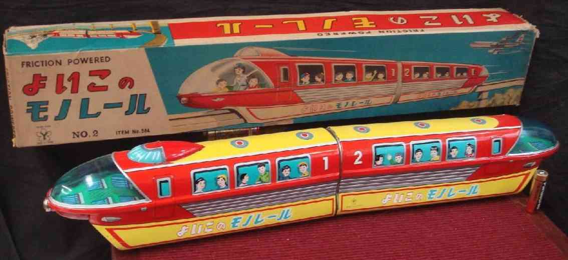 yonezawa 584 tin toy locomotive train mono rail tin toy