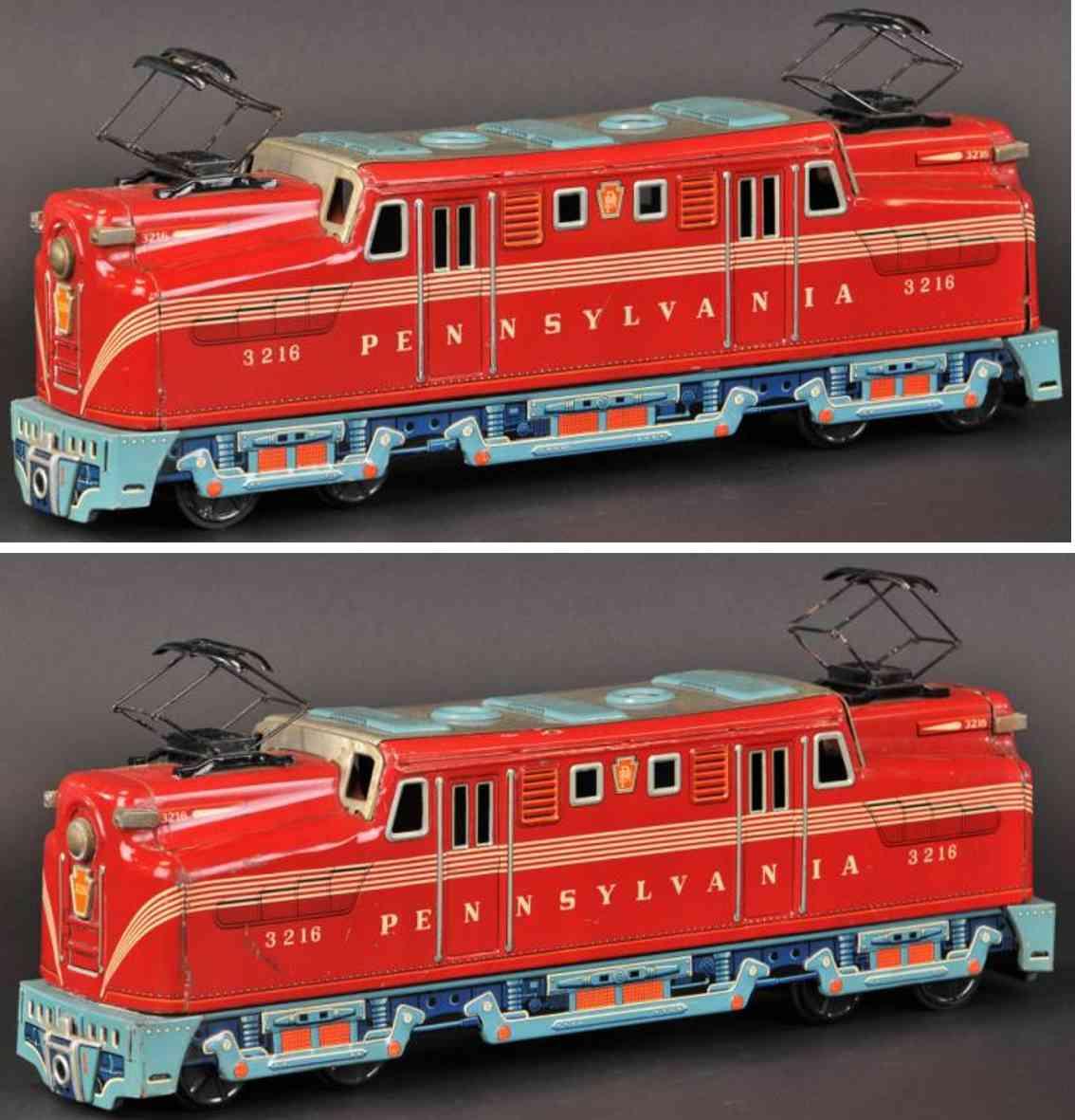 yonezawa blech spielzeug lokomtoive rot 3216 pannsylvania