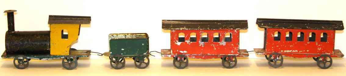 althof bergmann & co spielzeug eisenbahn bodenlaeufer lokomotive mit tender 53 cm lang und 2 güterwagen