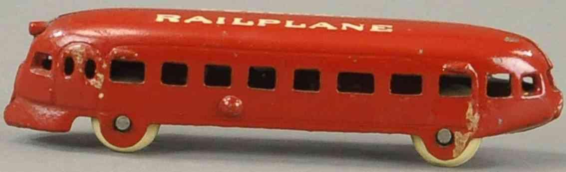 arcade spielzeug eisenbahn bodenlaeufer schlafwagen rot pullman railplane