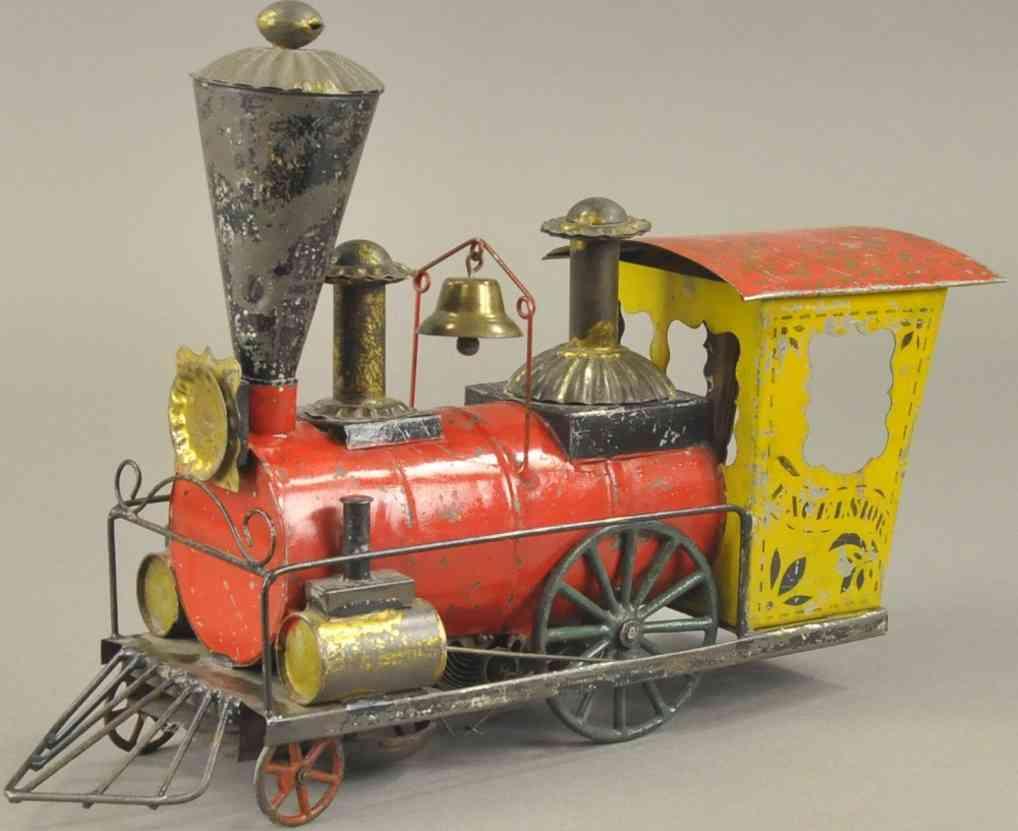brown george spielzeug eisenbahn bodenlaeufer uhrwerk-lokomotive rot gelb