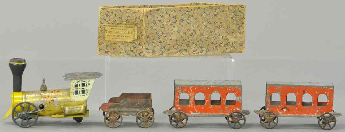 brown george spielzeug eisenbahn bodenlaeufer personenzug uhrwerklokomotive
