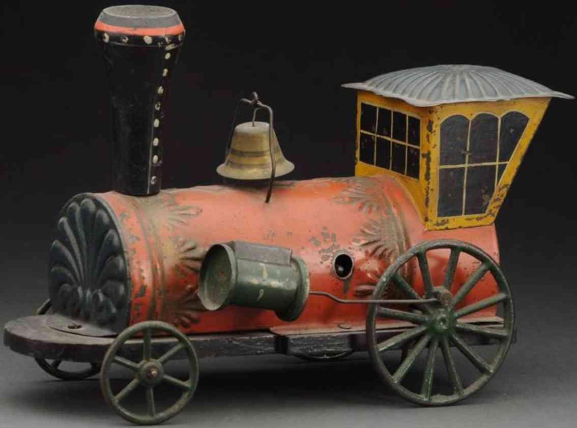 brown george railway toy floor train red bird clockwork locomotive