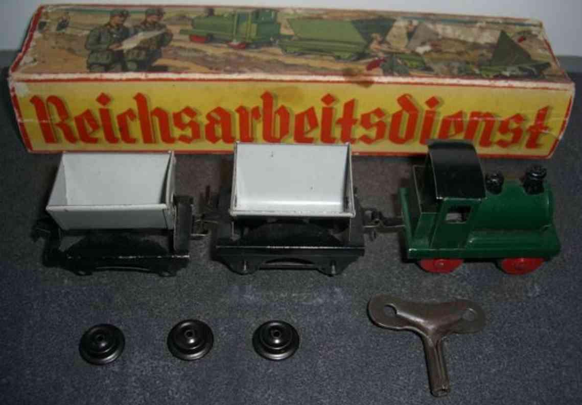 bub spielzeug eisenbahn bodenlaeufer miniatur tenderlokomotive mit uhrwerkantrieb und 2 kipploren