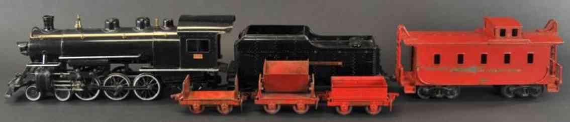 buddy l spielzeug eisenbahn bodenlaeufer lokomotive mit tender in schwarz. rote caboose und drei indu