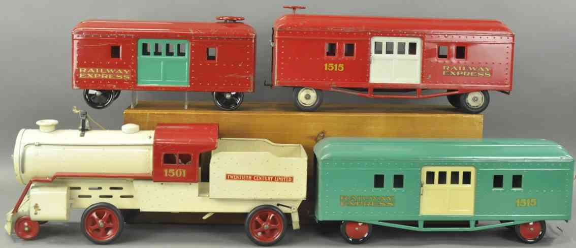 cor-cor toy company railway toy floor passenger train set loco 1501 baggage cars 1515