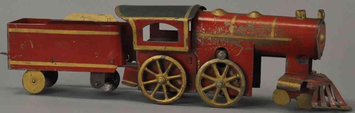 dayton spielzeug eisenbahn bodenlaeufer lokomotive tender rot