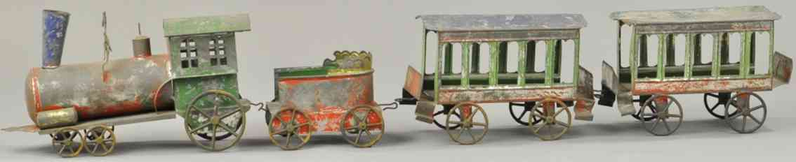 francis field and francis railway toy floor train set loco tender two passenger cars