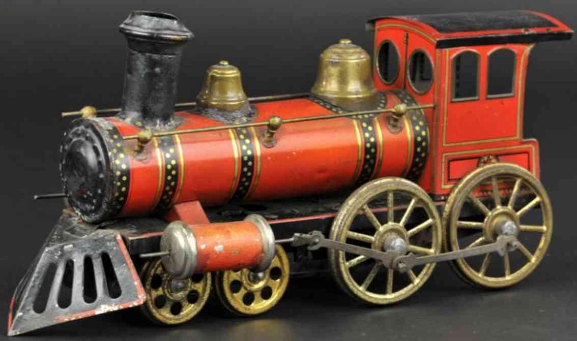 gunthermann railway toy floor train locomotive red gold black