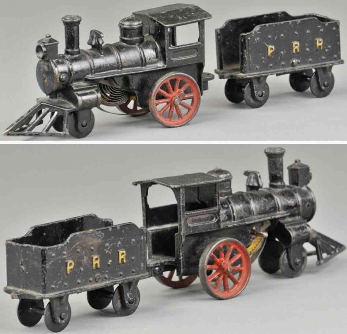 hubley railway toy floor train clockwork locomotiveprr tender cast iron black