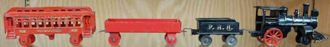 hubley 333 bodenlaeufer zug gusseisen lok prr tender gueterwagen personenwagen